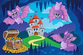 Bats in fairy tale cave - eps10 vector illustration.