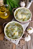 foto of sorrel  - Delicious green soup with sorrel on table close - JPG