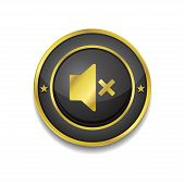 Mute Circular Golden Black Vector Web Button Icon