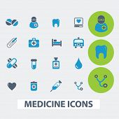 medicine, health care, hospital, doctor vector set of colorful flat icons, signs, design elements fo