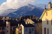 Roofs And Mountain In Chambery, Savoy, France