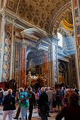 People in St Peter's Basilica. St. Peter's Cathedral