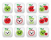 image of love bite  - Vector buttons set of apples with different expressions  - JPG