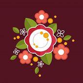 Decorative colorful floral composition. Flat design ornament.