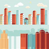 Vector City Illustrations In Flat Simple Style