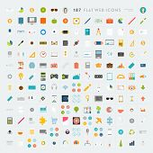 Collection of Flat Design Web Icons. Technology, Mobile Communication, Business and Marketing Elements. May be used for Application UX and UI Design.