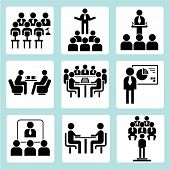 stock photo of convocation  - set of 9 conference icons and business meeting icons - JPG