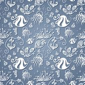 Vector Ornate Sea Seamless Pattern