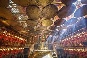 HONG KONG, CHINA - MAY 17, 2014: The interior of Man Mo Temple. Established in 1847, the temple is d