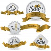 Gold Ribbon Glossy Sale Badges With Various Shape And Design (vector)