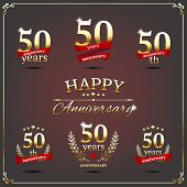 picture of 50th  - Vector illustration with fifty years anniversary signs - JPG