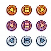 Vector set of bright buttons: forward, backward, contents