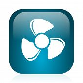 fan blue glossy internet icon