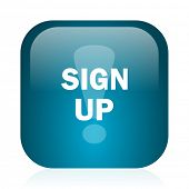 sign up blue glossy internet icon