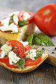 Ciabatta With Tomatoes, Cheese And Basil.
