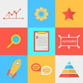 Flat icons for process of outsourced
