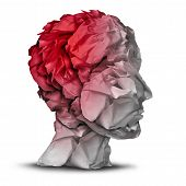 picture of hemorrhage  - Head injury and traumatic brain accident medical and mental health care concept with a group of crumpled office paper shaped as a human mind with red highlighted area as a symbol of trauma problem - JPG