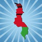 Malawi map flag on blue sunburst vector illustration