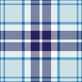 stock photo of kilt  - vector seamless tartan blue and white plaid pattern - JPG