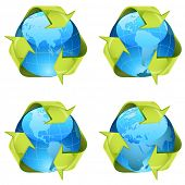 Recycling green arrows wrapping around world globe isolated on white background.
