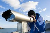 Man Looking Forward By Telescope