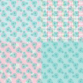 Cute Vintage Seamless Pattern Set With Retro Bicycle