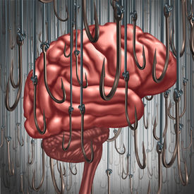 stock photo of addicted  - Addiction and dependency concept as a human brain being lured and surrounded by fishing hooks as a risk symbol and metaphor for a drug addict or the danger of alcoholism gambling and drug abuse smoking as a mental health problem - JPG