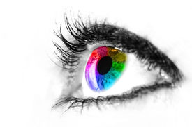 stock photo of purple iris  - Eye macro in high key black and white with colourful rainbow in the iris - JPG