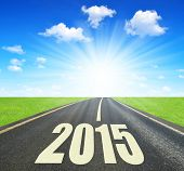 Asphalted road .Forward to the New Year 2015