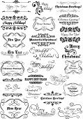 Merry Christmas and Happy New Year calligraphic lettering set