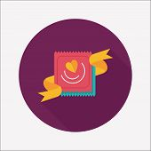 Valentine's Day Condom Flat Icon With Long Shadow,eps10