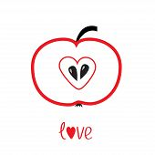 Red Apple With Heart Shape. Love Vector Card.