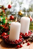 Christmas decorations with a candles