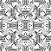 Design Seamless Monochrome Warped Grid Wave Pattern