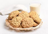 Homemade Oatmeal Cookies And Milkshake
