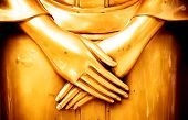 Buddha statue's hand. peace in the mind