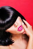 beautiful make up of glamour pink gloss lips