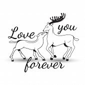 Sweet couple in love deer with lettering