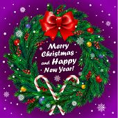 Christmas wreath on purple background