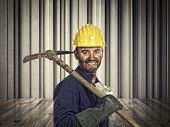 portrait of smiling labor and abstract 3d background