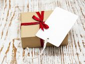 Vintage Gift Box Package With Blank  Tag