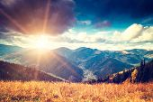 Beautiful mountains landscape. Sunset sky. Carpathian, Ukraine, Europe.