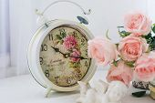 White Alarm Clock With Roses