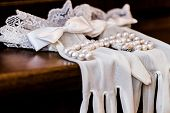 White Gloves Bride On Wooden Table