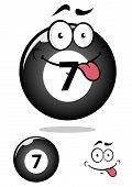 Billiard ball seven in cartoon format