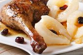 Roasted Duck Leg Meat With Pears And Raisins  Macro, Horizontal