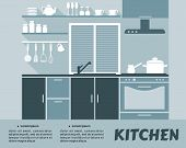 Modular kitchen interior in flat design