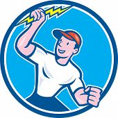 Electrician Holding Lightning Bolt Circle Cartoon