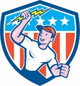 Electrician Lightning Bolt Usa Flag Cartoon