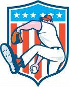Baseball Pitcher Outfielder Throwing Ball Shield Cartoon